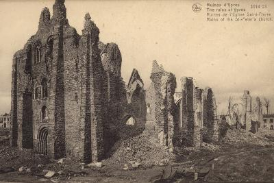 Ruins of St Peter's Church, Ypres, Belgium, World War I--Photographic Print