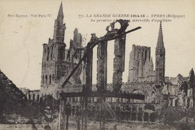 Ruins of the Cloth Hall, Ypres, Belgium, World War I--Photographic Print