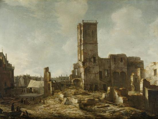Ruins of the Old Town Hall of Amsterdam after the Fire of 7 July-Jan Abrahamsz. Beerstraten-Art Print