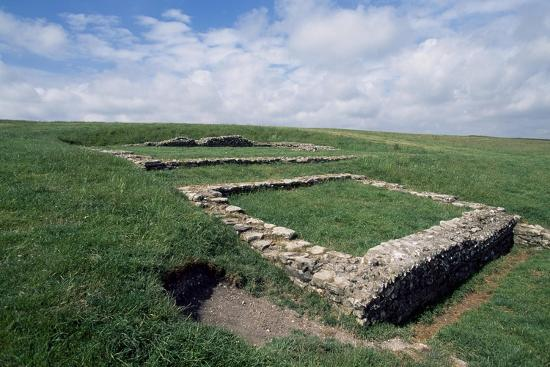 Ruins of the Roman Temple in the Prehistoric Fortress of Maiden Castle--Giclee Print