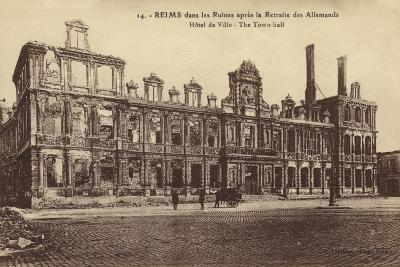 Ruins of the Town Hall, Reims, France, World War I--Photographic Print