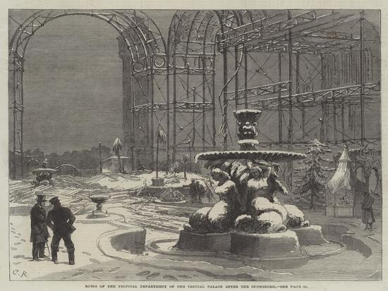 Ruins of the Tropical Department of the Crystal Palace after the Snowstorm-Charles Robinson-Giclee Print