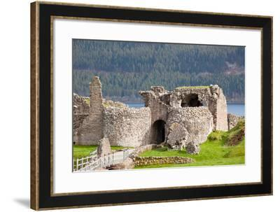 Ruins of Urquhart Castle at Loch Ness Inverness Highlands Scotland UK-vichie81-Framed Photographic Print