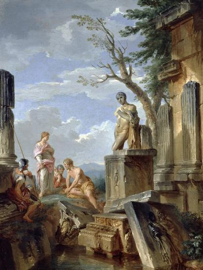 Ruins with a Sibyl and Other Figures, C.1720-Giovanni Paolo Pannini-Giclee Print