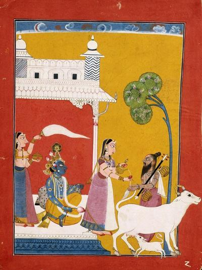 Rukmini Offering Water to the Sage Narada While Her Consort Krishna Sits in Her House--Giclee Print
