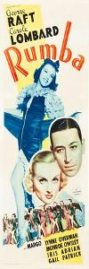 RUMBA, top: Margo, bottom l-r: Carole Lombard, George Raft on insert poster art, 1935.