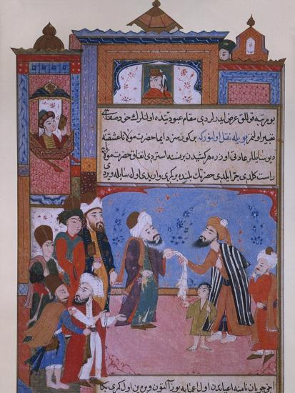Rumi Offering his Belt to a Beggar, late 16th century--Giclee Print