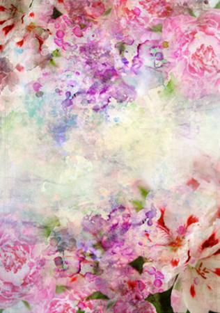 Abstract Ink Painting Combined With Flowers On Grunge Paper Texture by run4it