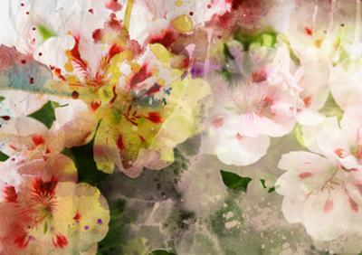 Watercolor Painting Mixed with Flowers on Textured Paper by run4it
