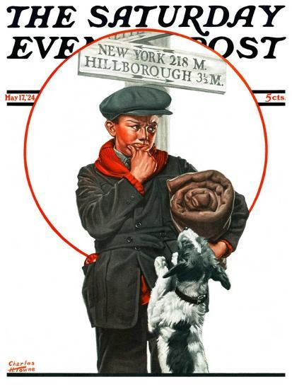 """""""Runaway Boy,"""" Saturday Evening Post Cover, May 17, 1924-Charles Towne-Giclee Print"""