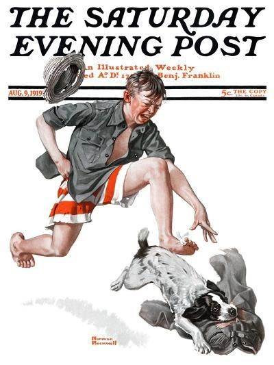 """Runaway Pants"" Saturday Evening Post Cover, August 9,1919-Norman Rockwell-Giclee Print"