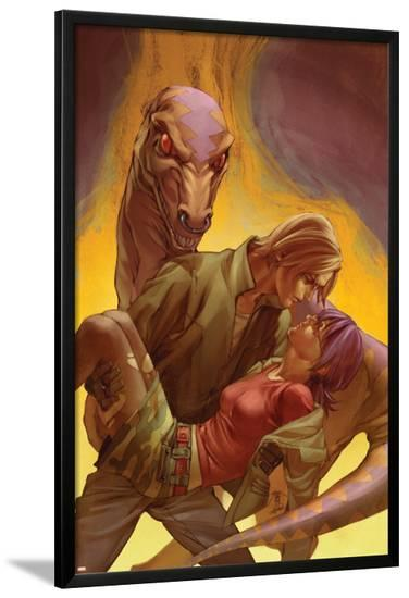 Runaways No.4 Cover: Yorkes, Gertrude, Mancha, Victor and Old Lace Fighting--Lamina Framed Poster