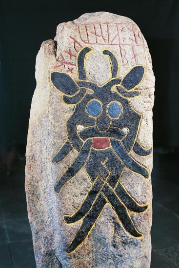 Runic Stone with Polychrome Relief Depicting Mask of Grimacing Divinity--Giclee Print