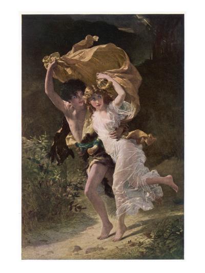 Running from Rain 1880--Giclee Print