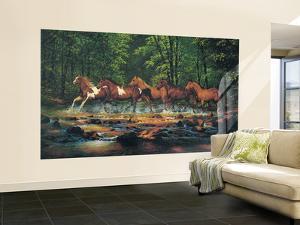 Running Horses Huge Mural Art Print Poster Small