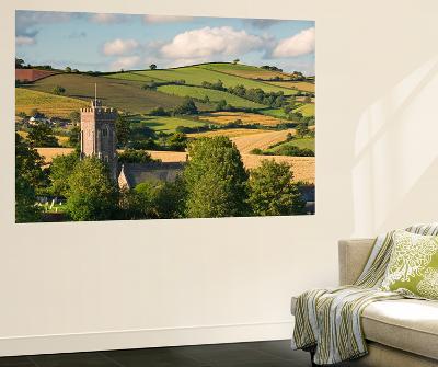 Rural Church Surrounded by Rolling Countryside, Shobrooke, Devon, England. Summer (July)-Adam Burton-Wall Mural