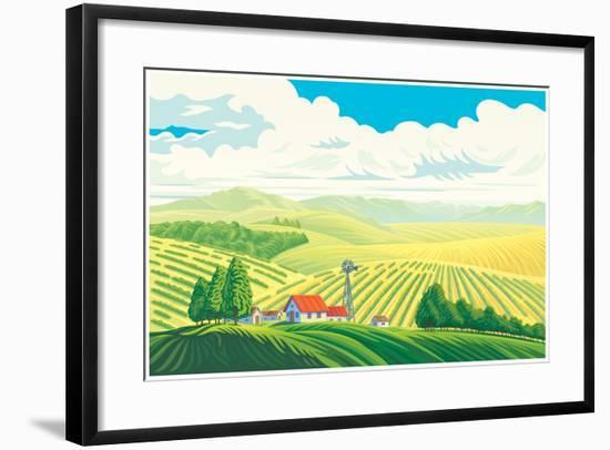 Rural Landscape with a Beautiful View of Distant Fields and Hills. Vector Illustration.-Rustic-Framed Art Print