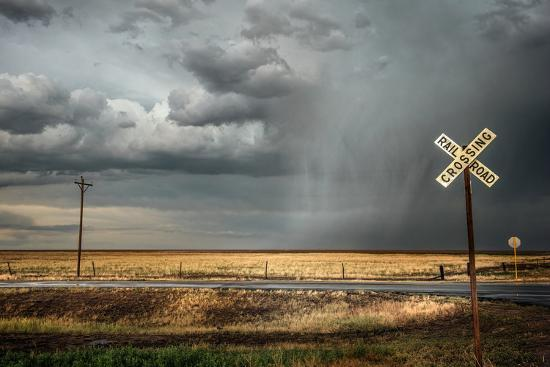 Rural Landscape with Dramatic Sky over Railway Crossing in America--Wall Mural