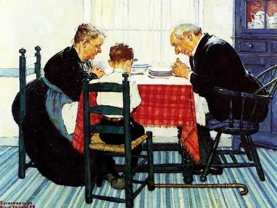 Rural Vacation (or Family Grace)-Norman Rockwell-Giclee Print