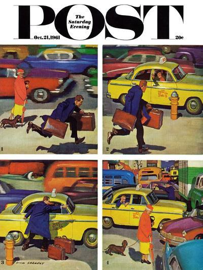 """Rush Hour (4 panel),"" Saturday Evening Post Cover, October 21, 1961-Richard Sargent-Giclee Print"