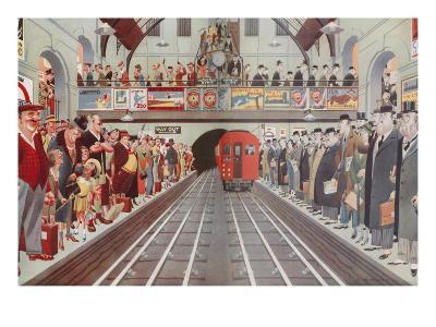 Rush Hour at a London Tube Station, by A. W. Wilson--Giclee Print