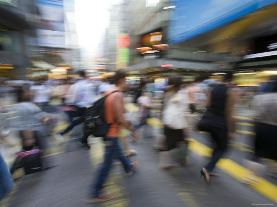 Rush Hour Commuters on Queens Road, Central, Hong Kong, Hong Kong, China-Greg Elms-Photographic Print