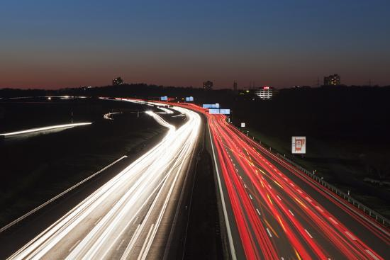 Rush Hour on the A8 Autobahn, Stuttgart, Baden Wurttemberg, Germany, Europe-Markus Lange-Photographic Print