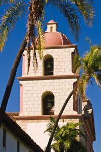 Bell tower and palms at the Santa Barbara Mission, Santa Barbara, California, USA by Russ Bishop
