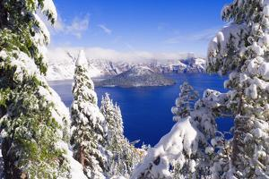 Crater Lake and Wizard Island in Winter, Crater Lake National Park, Oregon, Usa by Russ Bishop