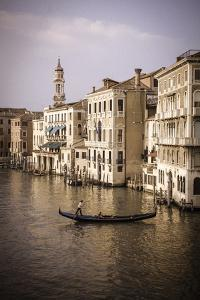 Evening light and gondola on the Grand Canal, Venice, Veneto, Italy by Russ Bishop