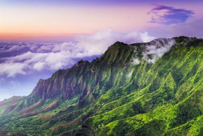 Evening light on the Kalalau Valley and Na Pali Coast from the Pihea Trail, Kokee State Park, Kauai by Russ Bishop