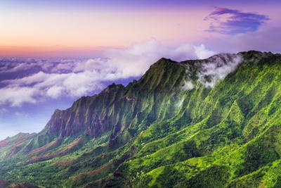 Evening light on the Kalalau Valley and Na Pali Coast from the Pihea Trail, Kokee State Park, Kauai
