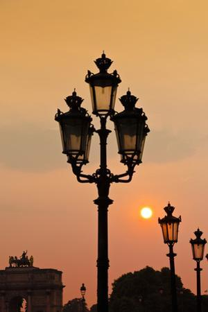 Lamp Posts at Sunset, Paris, France by Russ Bishop