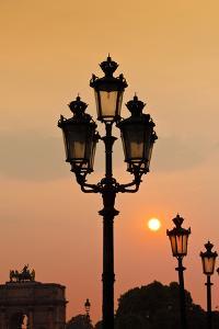 Lamp Posts at Sunset, Paris, France by Russ Bishop