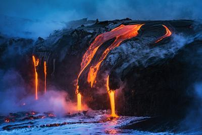 Lava flow entering the ocean at dawn, Hawaii Volcanoes National Park, The Big Island, Hawaii, USA
