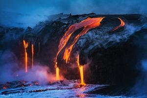 Lava flow entering the ocean at dawn, Hawaii Volcanoes National Park, The Big Island, Hawaii, USA by Russ Bishop
