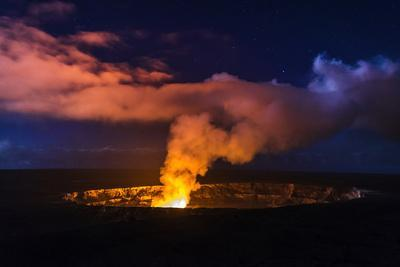 Lava Steam Vent Glowing at Night in Halemaumau Crater, Hawaii Volcanoes National Park, Hawaii, Usa