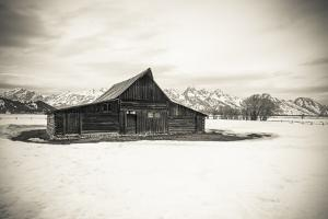 Moulton Barn and Tetons in winter, Grand Teton National Park, Wyoming, USA by Russ Bishop