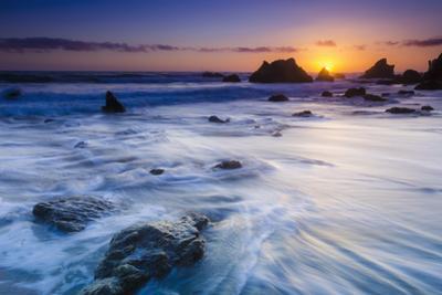 Sea stacks at sunset, El Matador State Beach, Malibu, California, USA by Russ Bishop