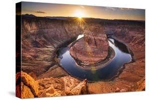 Sunset over Horseshoe Bend and the Colorado River, Glen Canyon National Recreation Area, Arizona by Russ Bishop