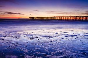 Sunset over the Channel Islands and Ventura Pier from San Buenaventura State Beach, Ventura, Califo by Russ Bishop
