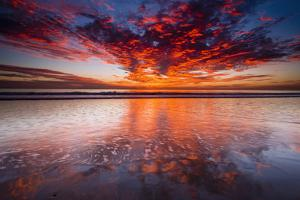 Sunset over the Channel Islands from Ventura State Beach, Ventura, California, USA by Russ Bishop