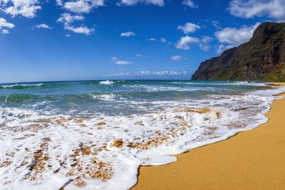 Surf and sand at Polihale Beach, Polihale State Park, Island of Kauai, Hawaii, USA