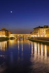The Arno River and Ponte Vecchio at night, Florence, Tuscany, Italy by Russ Bishop