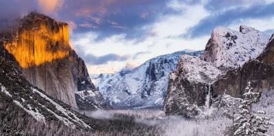 Winter sunset over Yosemite Valley from Tunnel View, Yosemite National Park, California, USA by Russ Bishop