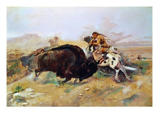 Russell: Buffalo Hunt-Charles Marion Russell-Giclee Print