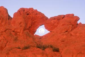 Kissing Camels Formation with Full Moon in Arch in Garden of the Gods Park in Colorado Springs Colo by Russell Burden