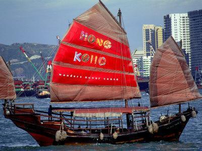 Duk Ling Junk Boat Sails in Victoria Harbor, Hong Kong, China