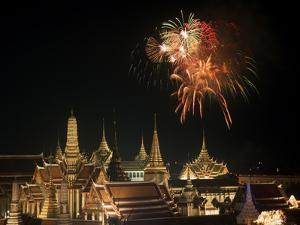Emerald Palace During Commemoration of King Bumiphol's 50th Anniversary, Thailand by Russell Gordon