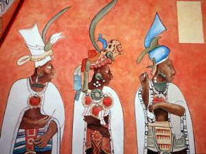 Murals in Mayan Temple, Bonampak, Museum of Mexican History, Monterrey, Nuevo Leon, Chiapas, Mexico by Russell Gordon